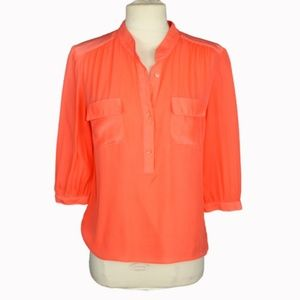 Parker Coral Silk Blouse XS